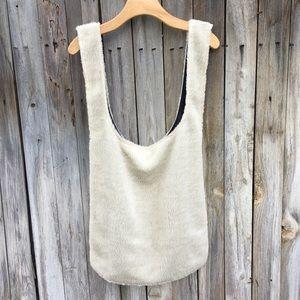 NWT Eileen Fisher Reversible Fleece Tote Bag White